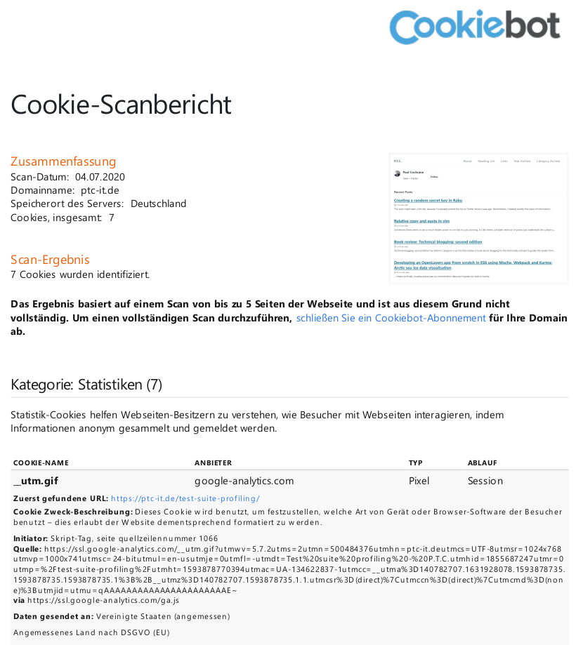 Cookiebot initial GDPR compliance report